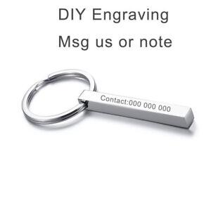Couple Men Women Keychain Keyring Stainless Steel Vertical Bar Custom Engraving