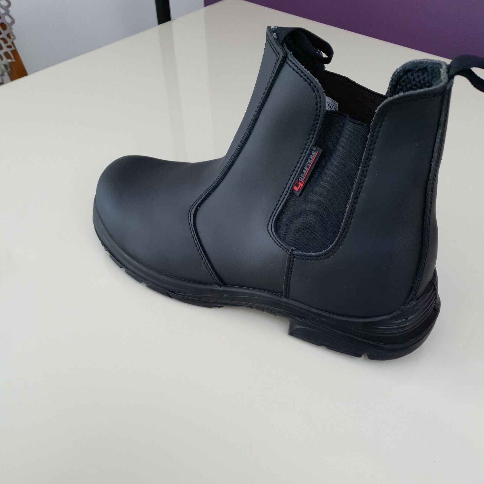 MENS GRAFTERS WIDE EXTRA FIT DEALER STEEL TOE CAP SAFETY BOOTS WORK SHOES BLACK