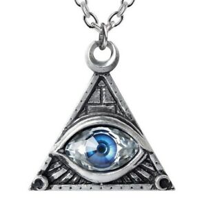 88fd2a418f8c1 Details about Blue All Seeing Eye of Providence Freemason Pyramid Necklace  Alchemy Gothic P827