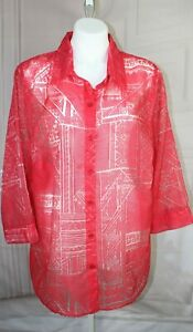 Womens-Red-Alfred-Dunner-Woman-Burnout-semi-sheer-Blouse-Size-20W