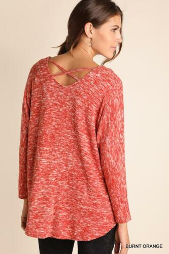 V With Top Orange neck Detail Long Cross Sleeve Criss Burnt UtqFZa