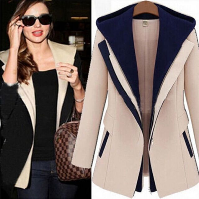 Casual Autumn Women Slim Zipper Long Sleeve Jacket Hooded Outerwear Coat NEW