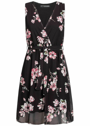 37/% OFF B19076573 Damen Violet Kleid kurz Wrap Belted Dress Flower schwarz rosa