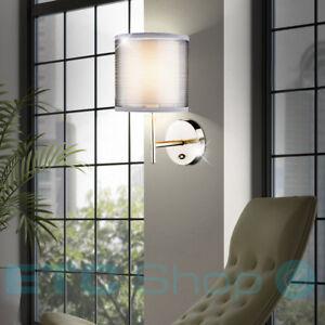 Wand Leuchte Textil Schirm Lese Schlafzimmer Lampe Grau Schalter