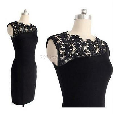 Elegant Womens Lace Crochet Party Cocktail Bodycon Midi Dress Size S-XXL A84
