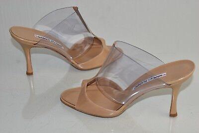 Nuevo Manolo Blahnik Sandalias PVC Charol Beige Marrón Deslizar Zapatos 39 | eBay
