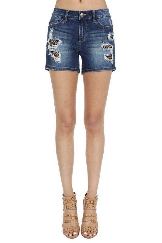 NWT Judy bluee Dark Denim Leopard Patch Shorts S, M, L