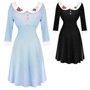 Hell-Bunny-Beebee-Polka-Dot-Mini-Vintage-Retro-Skater-1950s-Kitsch-Party-Dress