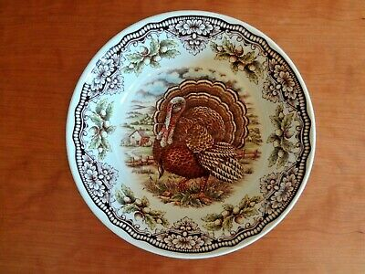 The Victorian English Pottery Turkey Blue Rim Cereal Bowls Set of 8 NEW