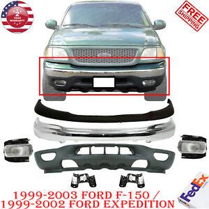 Front Bumper Chrome Upper Valance Brackets Fog Lights For 99 03 Ford F 150 4wd Ebay