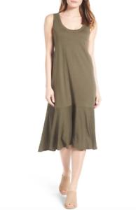 Caslon damen Olive Sarma Drop Waist Jersey Dress Sz S 10592