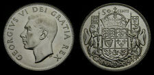 1949 Canada Silver Fifty 50 Cent Piece King George VI AU-55