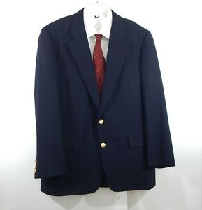 vintage-HICKEY-FREEMAN-jacket-blazer-sport-coat-gold-button-navy-blue-42R