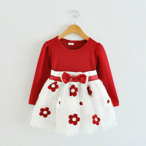 Toddler Kids Baby Girls Long Sleeve Tulle Flower Bow Dress Mid-Calf Prince Dress