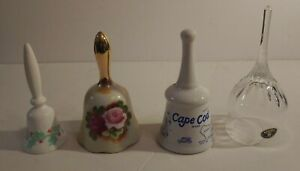 Collectible-Bell-Lot-Bohemia-Crystal-Cape-Cod-Floral-Christmas-Vintage-4-Bells