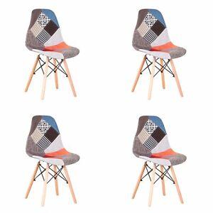 4X Sedie per Sala da Pranzo Tavolo Cucina Stile Nordico Design Patchwork Rosso