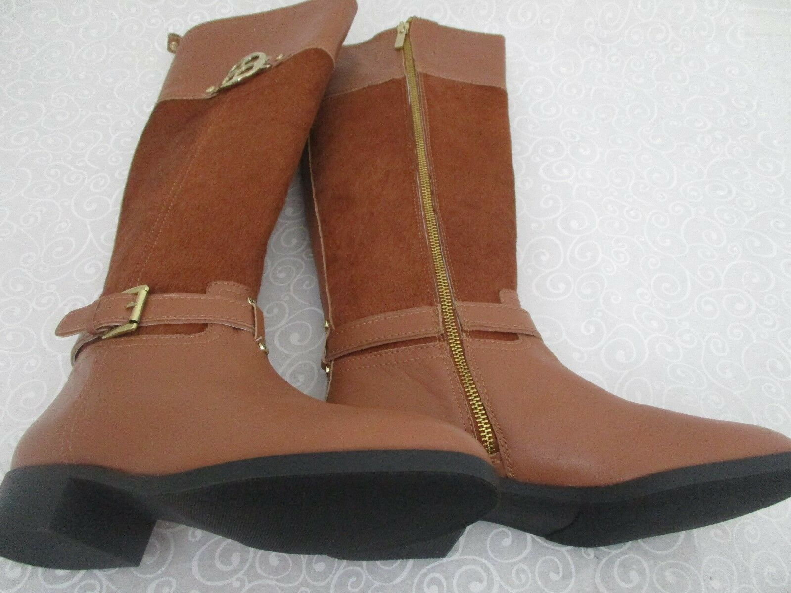 IMAN marron LEATHER PONYHAIR KNEE KNEE KNEE HIGH bottes Taille 7 1 2 M - NEW 5f540c