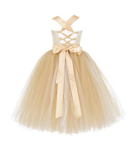 Tutu Criss-Cross Back Flower Girl Dresses Wedding Pageant Easter Communion 119F
