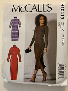 McCalls Sewing Pattern R10419 Bodycon Dress Size A XS-S-M-L-XL