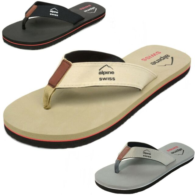 Alpine Swiss Mens Flip Flops Beach Sandals EVA Sole Comfort Thongs Black 10 M US