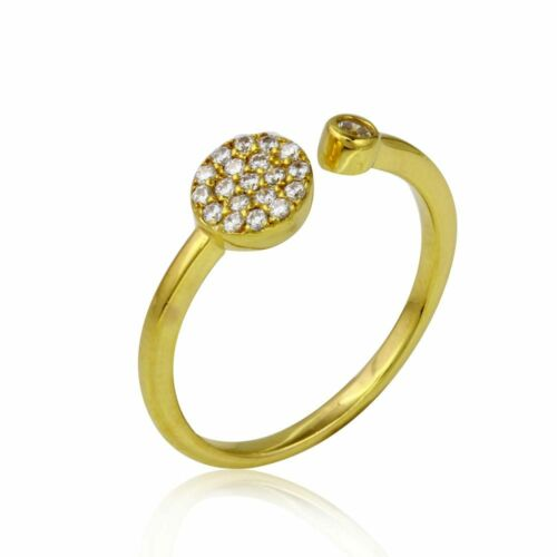 14K YELLOW GOLD OVER 925 STERLING SILVER OPEN RING W// LAB DIAMONDS SZ 5 TO 9