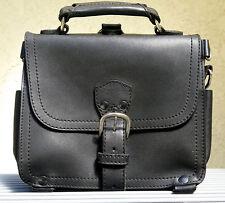 EUC Genuine Saddleback Leather Old Logo SMALL SATCHEL in Black w/ Black Pigskin