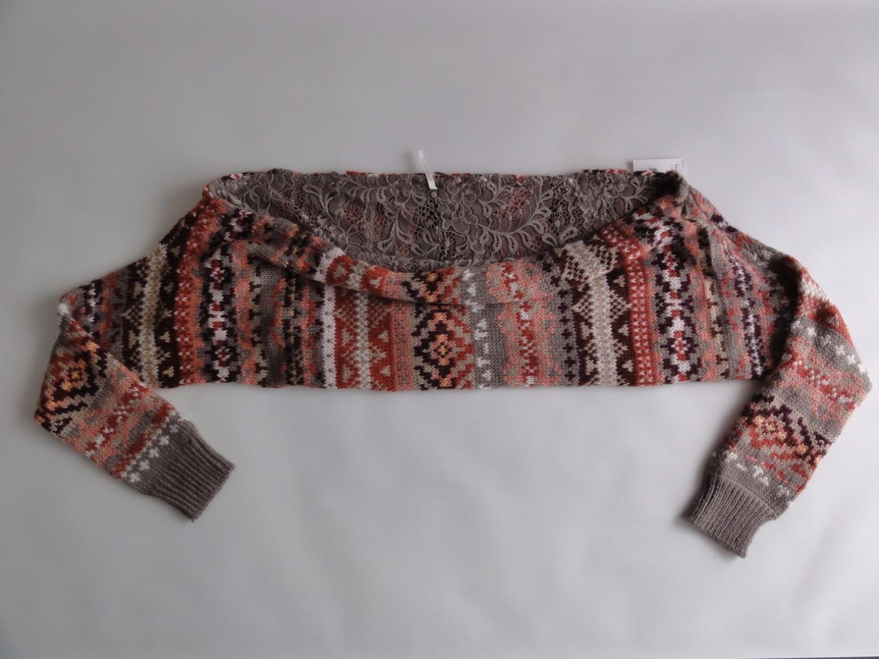 FREE PEOPLE CARNIVAL SHRUG SWEATER, Taupe combo, Size M, MSRP