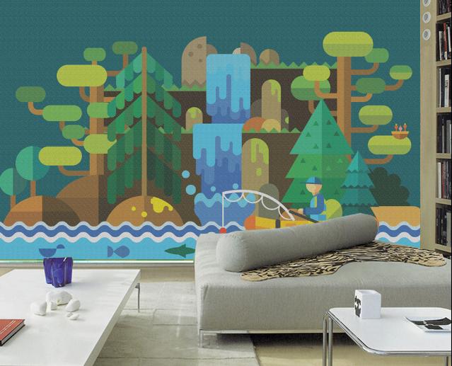 Papel Pintado Mural De Vellón Océano Geométrico Bosque 2 Paisaje Fondo Pantalla