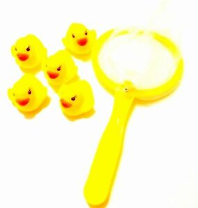 Pack-Of-5-Rubber-Ducks-With-Net-Bath-Time-Fun-Toys-Plays-Fishing-Yellow-Toy-Play