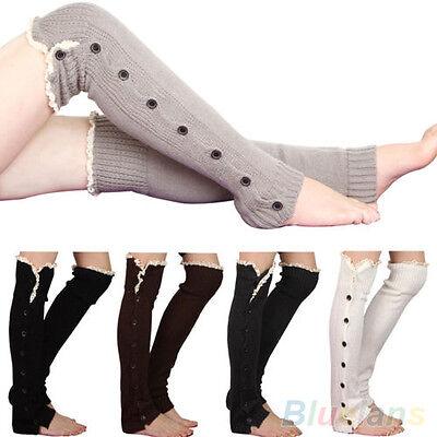 Women's Crochet Knitted Stocking Leg Warmers Button Lace Trim Legging Boot Sock