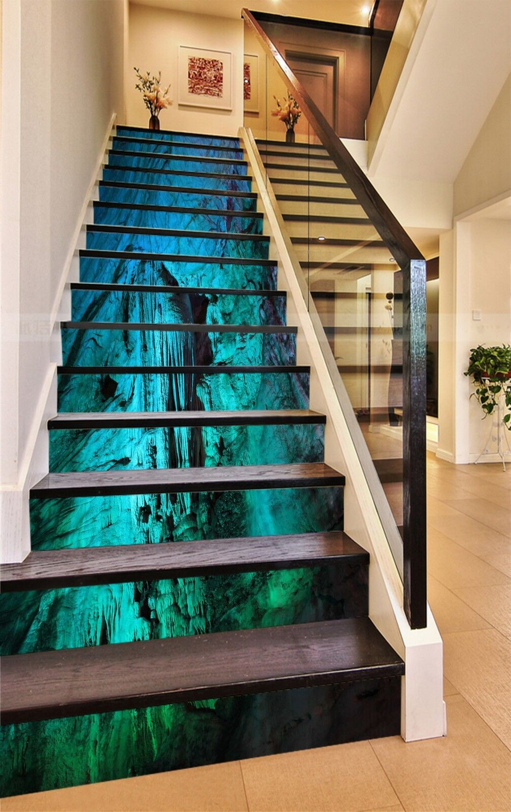 3D Limestone cave 7 Stair Risers Decoration Photo Mural Vinyl Decal Wallpaper UK