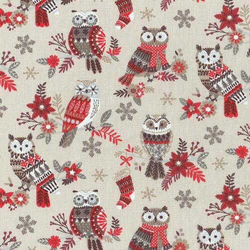Textiles français The Festive Owls fabric Beige//Red