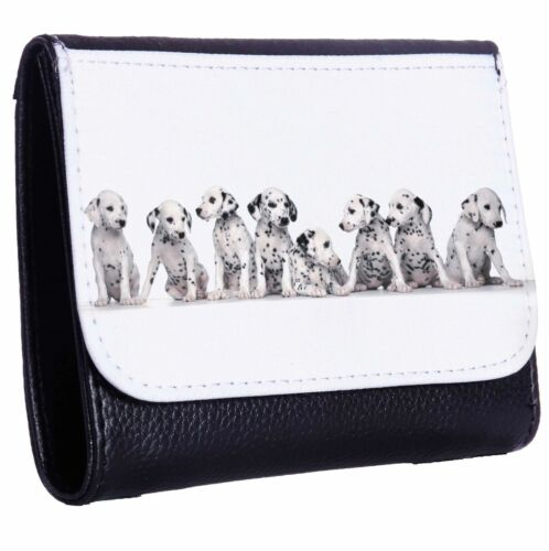 Dalmation Puppies Lined Up Tri-Fold Wallet w// Button Pocket