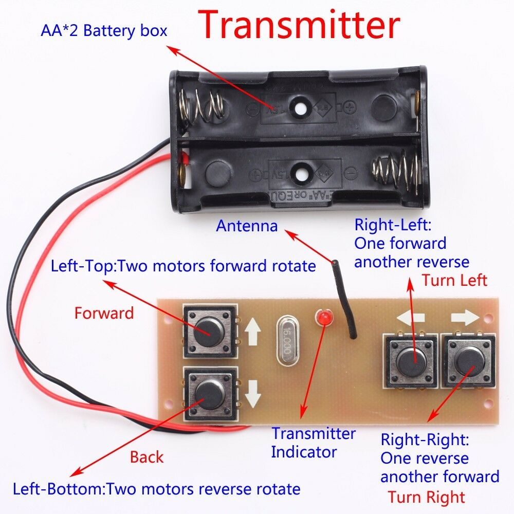 Wireless Transmitter Receiver Board Module for DIY Remote Control Cars//Boats
