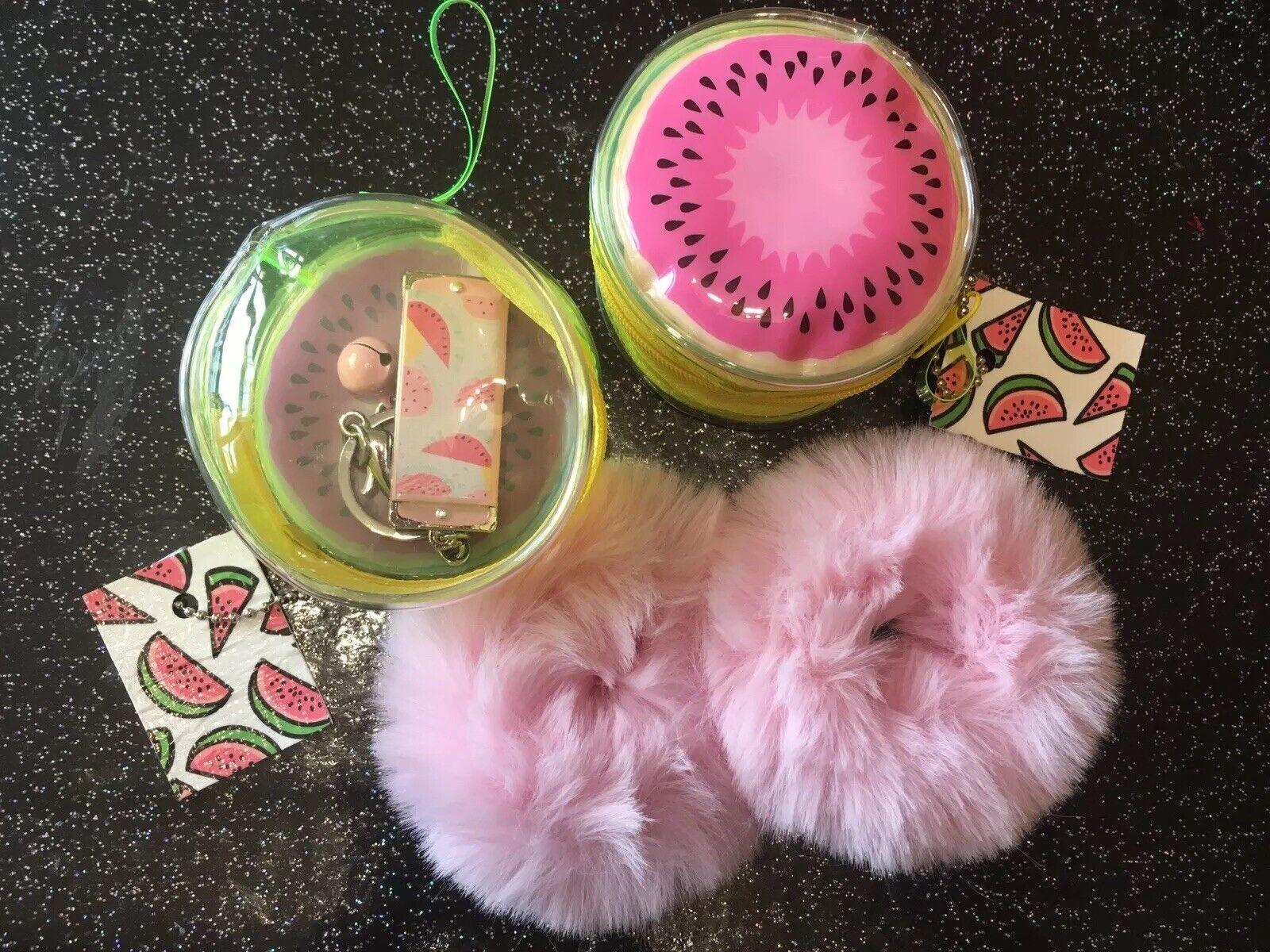 Round Pink 🍉Watermelon Purse +Harmonica Keyring +2 Fur Hair Bands 4pc Gift Set