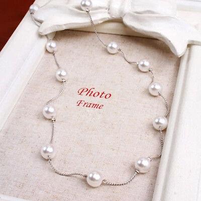 Charm Pearl Choker Chunky Statement Bib Pendant Chain Necklace Wedding Jewelry