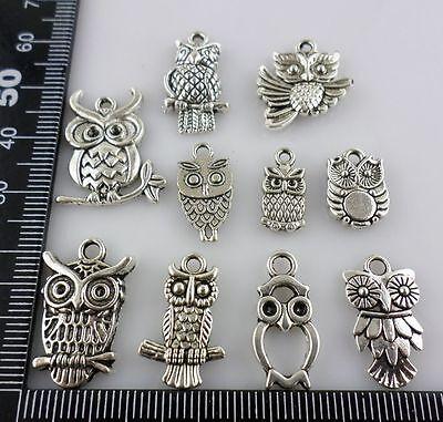 New Tibetan Silver Multiple - Owl Charms Pendants (Fit Bracelet etc.(Lead-free)
