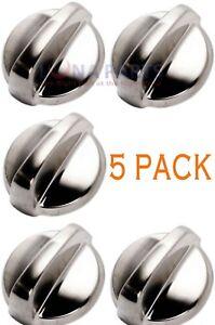 (5 Pack) Wb03t10284 Range Oven Knob Stainless Steel Finish Ap4346312 Ps2321076 Moderne Et EléGant à La Mode