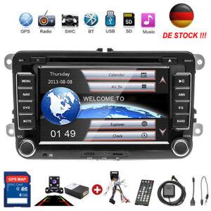 2DIN-Autoradio-GPS-Navi-DVD-Bluetooth-Fuer-VW-GOLF-5-PASSAT-POLO-Caddy-Kamera