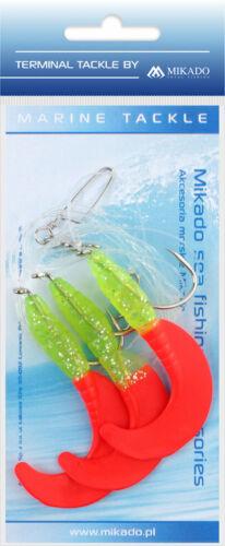 MIKADO Pilk-System mit drei Twistern Haken 4//0 Dorschsystem Twistervorfach Rig