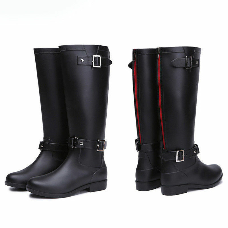 New Knee High Rain Boots Women's Ladies Mid-Calf Rubber shoes Strap Work Boots