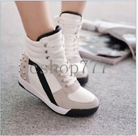 New Fashion Womens High Top Rivet Trainer Shoes Ladies Wedge Heel Sneakers Size