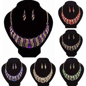 Fashion-Charm-Women-Crystal-Bib-Choker-Necklace-Earrings-Statement-Party-Jewelry