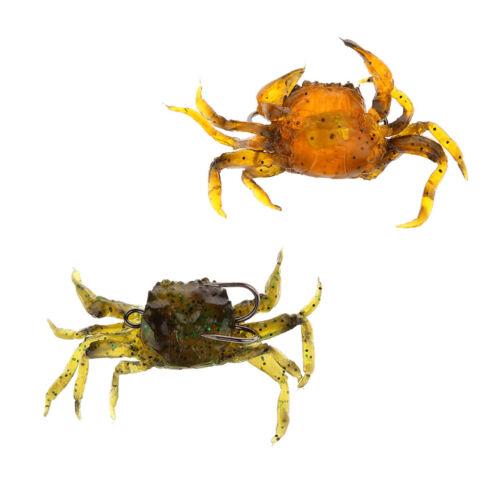 2 pièces de pêche artificielle de crabe leurres mous appâts de pêche 3D