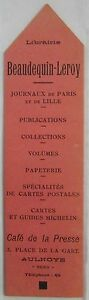 Antique-Brand-Pages-Bookmark-Advertising-Bookstore-Beaudequin-Leroy-in-Aulnoye