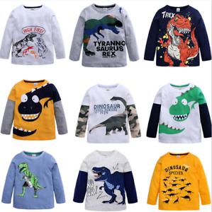 New-Kids-Boys-Long-Sleeve-T-Shirt-Fashion-Cartoon-Dinosaur-Top-Tee-Clothing