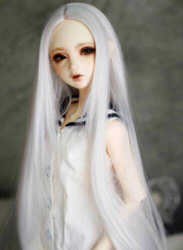 "1//6 6-7/"" BJD Doll Wig Snow White Straight Buckle Curls Tips layer Ends Hair Long"