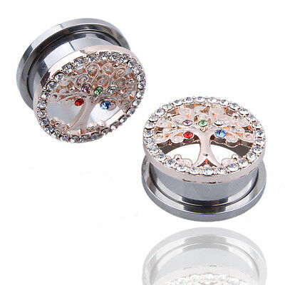 2PCS Multicolor Crystal Tree of Life Ear Gauges Tunnel Screw Earring Piercing