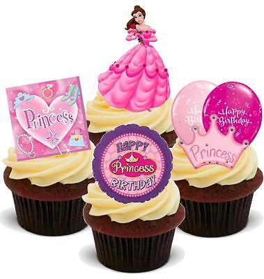 Super Novelty Pink Princess Birthday Mix A 12 Stand Up Edible Cupcake Funny Birthday Cards Online Inifodamsfinfo