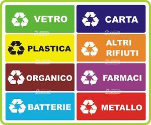8 targhette adesive raccolta differenziata rifiuti - Contenitori rifiuti differenziati per casa ...